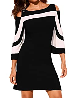9d431397f6 HannahZone Women s Casual Summer Cold Shoulder Dresses 3 4 Sleeve Tunic Top  Swing T-