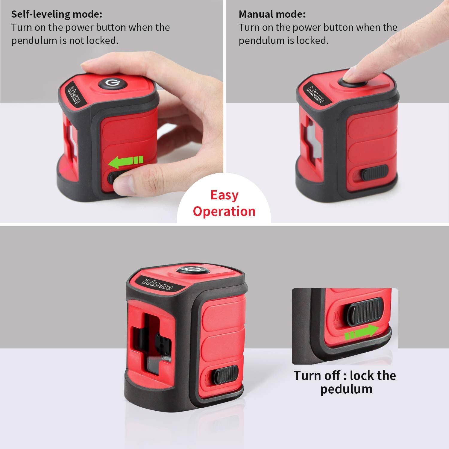 50ft Cross Line Laser Level Multipurpose Laser Lever for Picture Hanging Construction Wall Writing Tile Installation with horizontal and vertical line INKERMA Laser Lever Tool