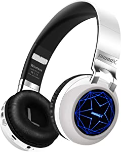 Riwbox WT-8S Bluetooth Headphones, LED Light Up Wireless Headphones Over Ear Hi-Fi Stereo Foldable Wireless/Wired Headsets with Mic and TF-Card Compatible for iPhone ipad Kindle Laptop TV (White)