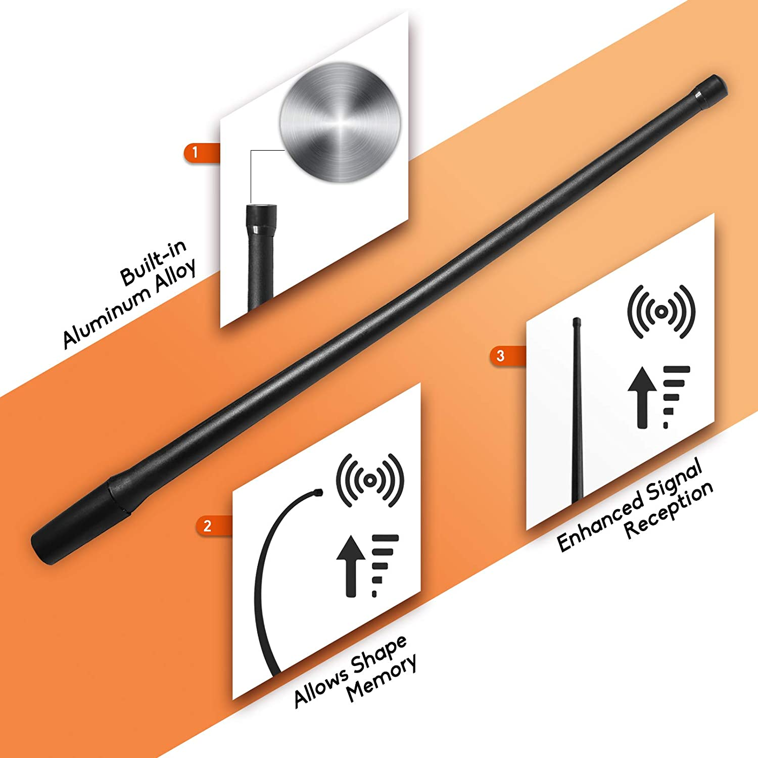 Optimized FM//AM Reception DeepRoar Replacement Antenna for Chevy Avalanche 2001-2006 13 Inch PL01 Black