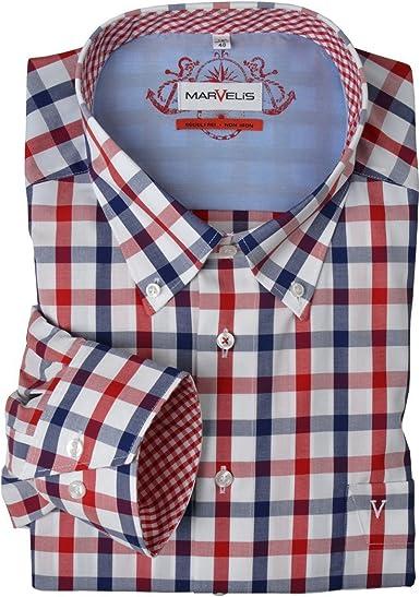 Marvelis Camisa de Manga Larga sin Plancha Rojo-Azul-Blanco Cuadriculado Oversize, Hemden Business 45-56:48: Amazon.es: Ropa y accesorios