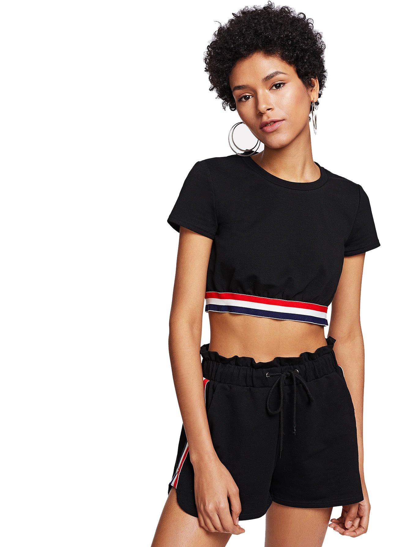 SweatyRocks Women's Crop Top T shirt Elastic Waist Shorts Set 2 Piece Outfit Suit Black XL