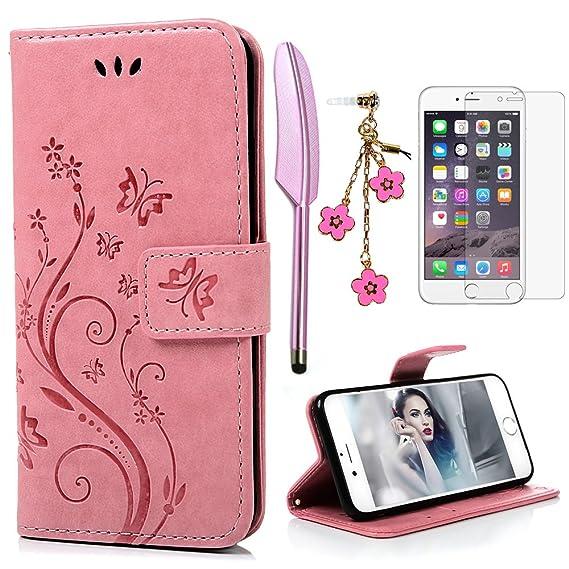 iPhone 6 Plus / 6S Plus Hülle (5,5 Zoll) Wallet Case YOKIRIN Schmetterling Blumen Flipcase Hülle Schutzhülle PU Leder Briefta