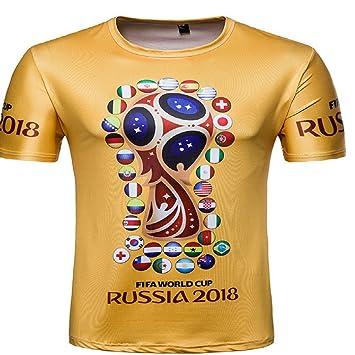Alissne Camiseta FIFA Copa del Mundo 2018 32 Países Pamisetas de Fútbol Camiseta Deportiva Manga Corta de Aficionados Conmemorativos Edición (Amarillo, ...
