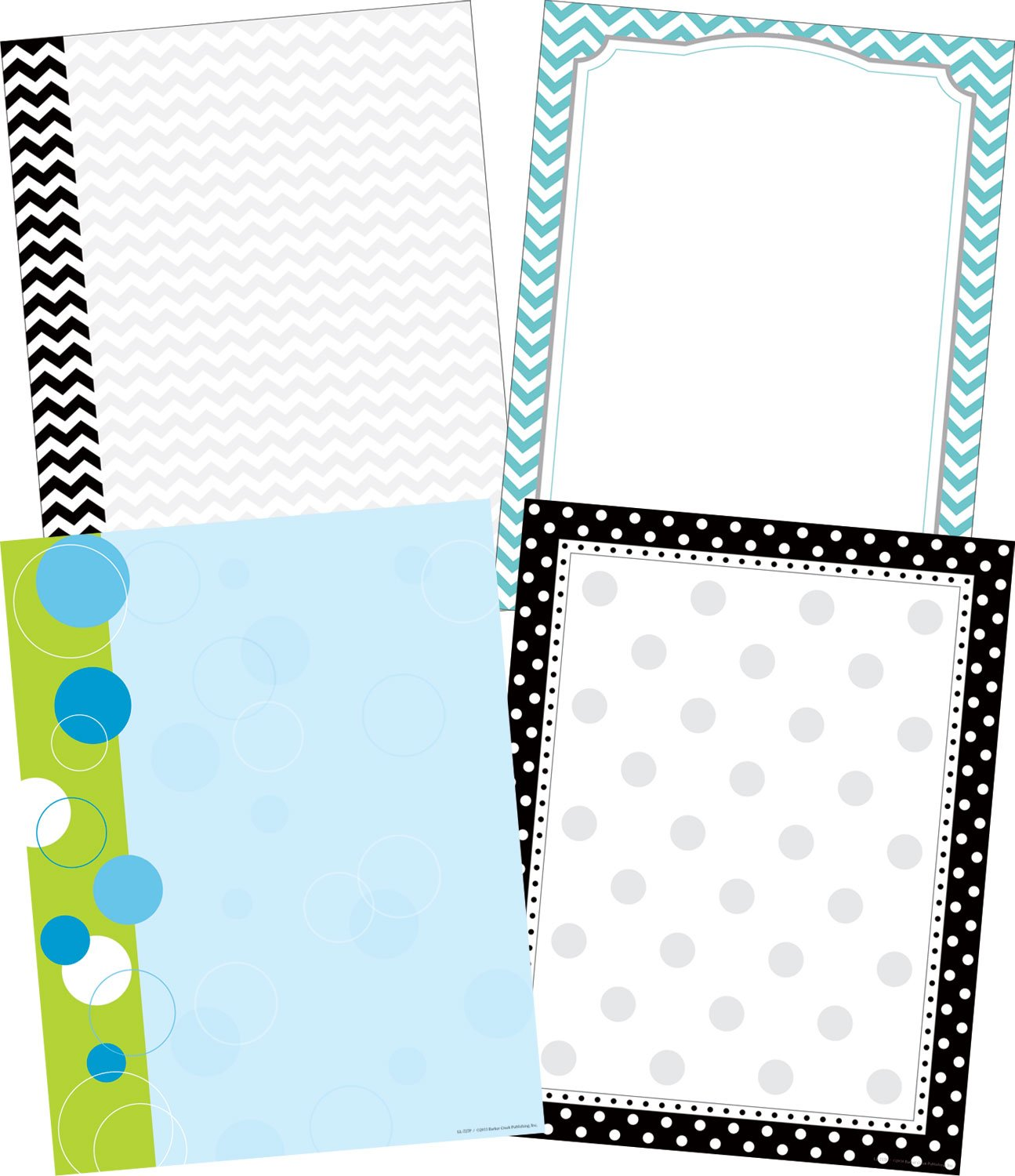 Barker Creek - Office Products Chevron and Dots Designer Computer Paper Set, 50 Each of 4 Designs (SS-0756)