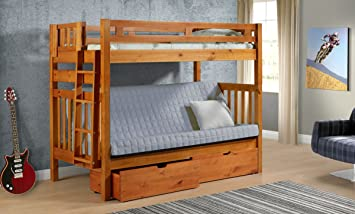 Amazon Com Tall Twin Over Full Futon Mission Honey Bunk Bed With Drawers Furniture Decor