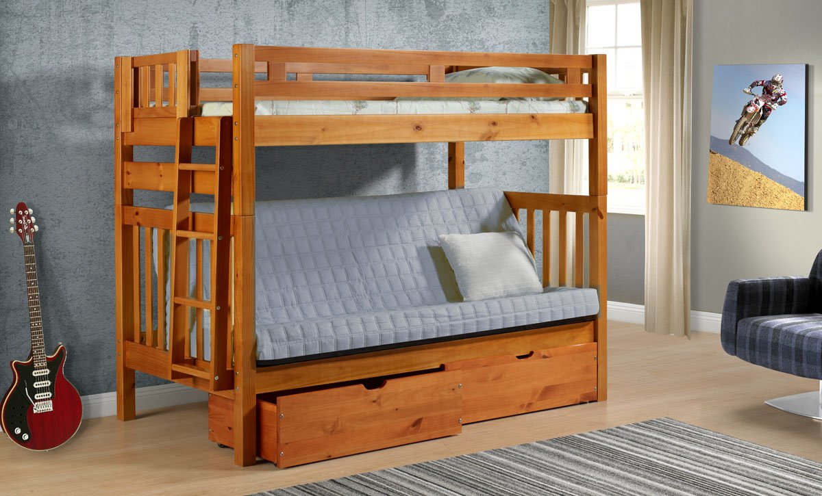 amazon    tall twin over full futon mission honey bunk bed with drawers  kitchen  u0026 dining amazon    tall twin over full futon mission honey bunk bed with      rh   amazon