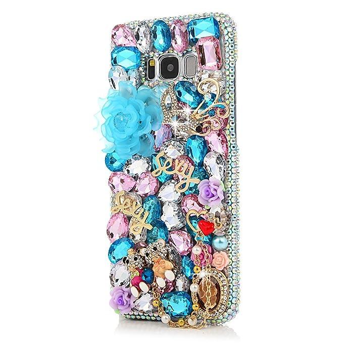 STENES Galaxy J3 Prime Case - STYLISH - 100+ Bling Crystal - 3D Handmade  Big Rose Sweet Bear Flowers Design Protective Case For Samsung Galaxy J3