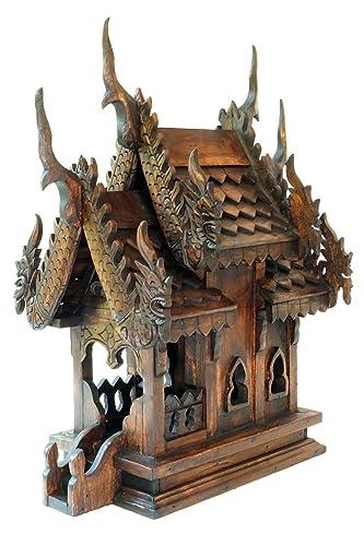 Design by UnseenThailand Thai Buddhism Handmade Teak Wood Spirit House Teak Wood 2 Roof, H16 xW9 xL12