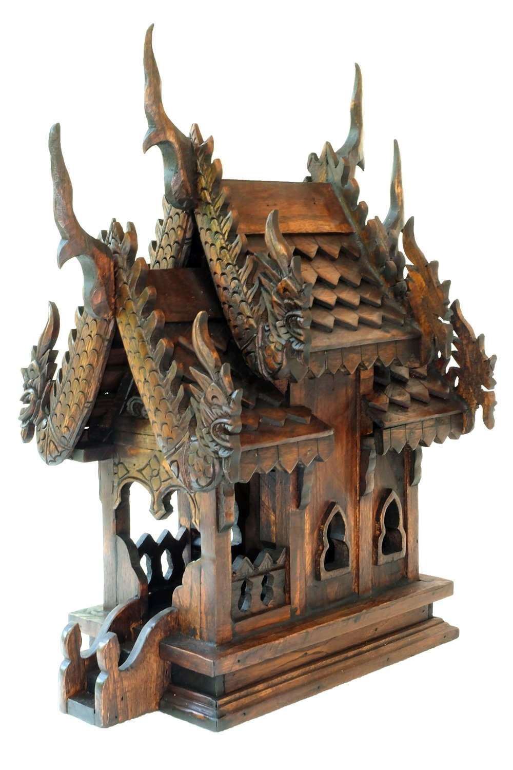 Design by UnseenThailand Thai Buddhism Handmade Teak Wood Spirit House (Teak Wood 2 Roof, H16''xW9''xL12'')