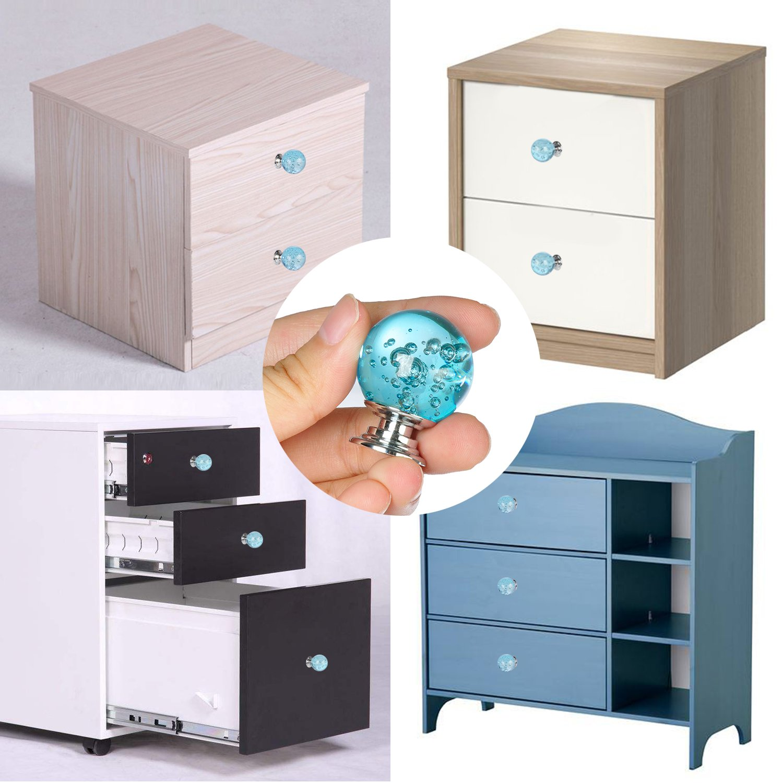Set of 10 Aqua Blue Bubbles Glass Crystal Knobs and Pulls Knobs Handles for Kitchen Furniture Door Drawer Cabinet Dresser Closet Wardrobe Cupboard Bathroom