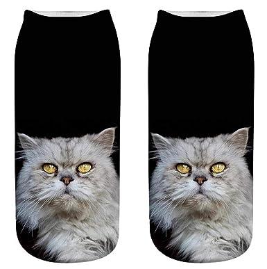 SDCXV Mujeres gato 3D impreso zapatillas de deporte calcetines tobillo calcetines (1: Amazon.es: Ropa y accesorios