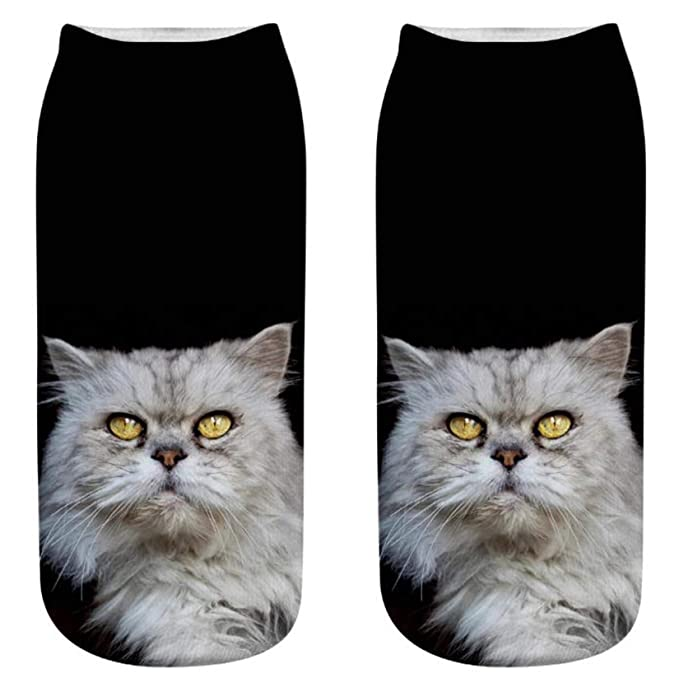 Mujeres gato 3D impreso zapatillas de deporte calcetines tobillo calcetines (1: Amazon.es: Ropa y accesorios