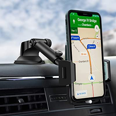 Car Phone Mount, Dashboard Car Phone Holder, Washable Strong Sticky Gel Pad with One-Touch Design Compatible iPhone 11 pro,11 pro max,X,XS,XR,8,7,6 Plus,Galaxy S7,8,9,10,Google Nexus [5Bkhe0412044]