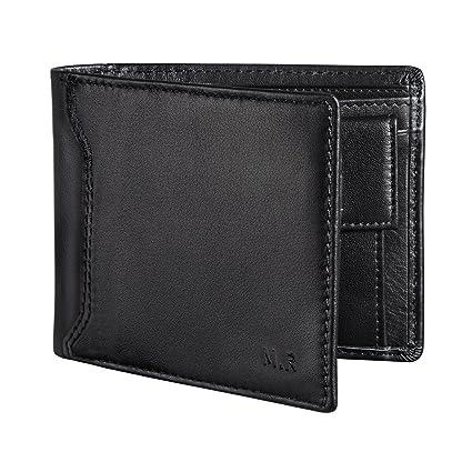 MR RFID Cartera Hombre Monedero Multifucional Cuero Auténtico Para Tarjeta de Crédito, Dinero y Carnet ID