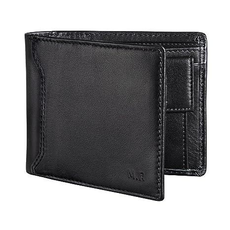 12ba5fa13 M.R RFID Cartera Hombre Monedero Multifucional Cuero Auténtico Para Tarjeta  de Crédito, Dinero y Carnet