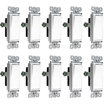 Amazon.com: Enerlites Three Way Light Switch, On/Off Rocker, 93150-W ...