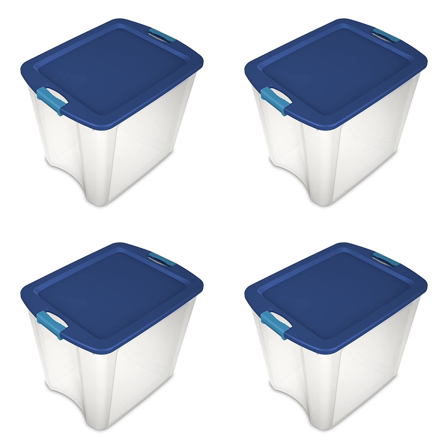 Sterilite 14489604 26 Gallon/98 Liter Latch and Carry, True Blue Lid and Clear Base with Blue Aquarium Latches, 4-Pack