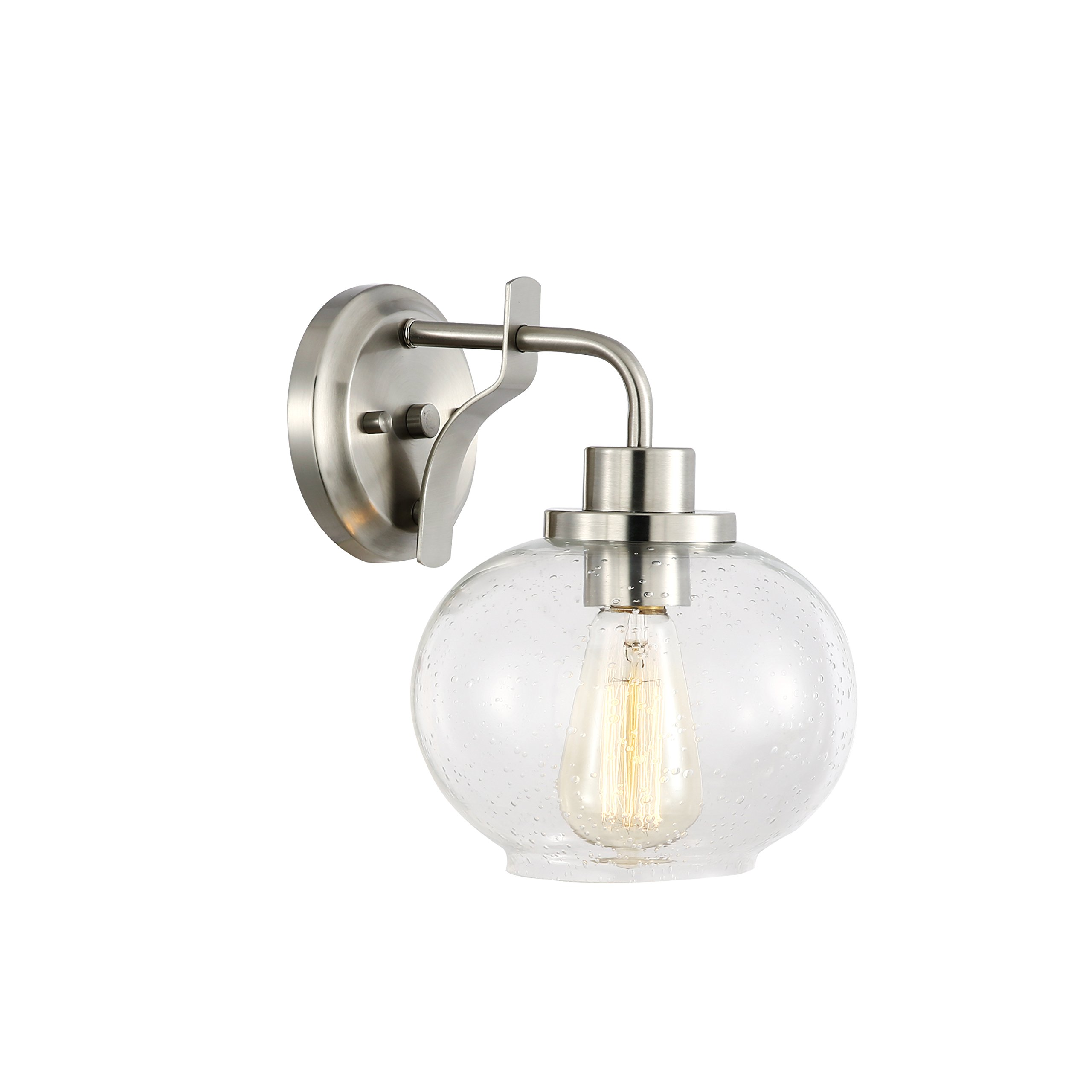 Light Society Sheridan Seeded Wall Sconce, Satin Nickel with Handblown Clear Glass Shade, Vintage Industrial Modern Lighting Fixture (LS-W245-SN)