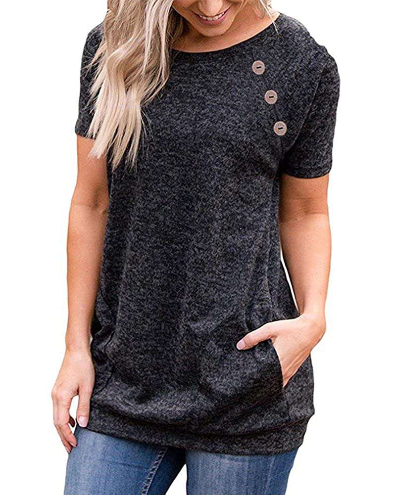 Black LEANI Women's Casual Short Sleeve Solid color Button Decor TShirt Tunic Tops Blouse with Pockets