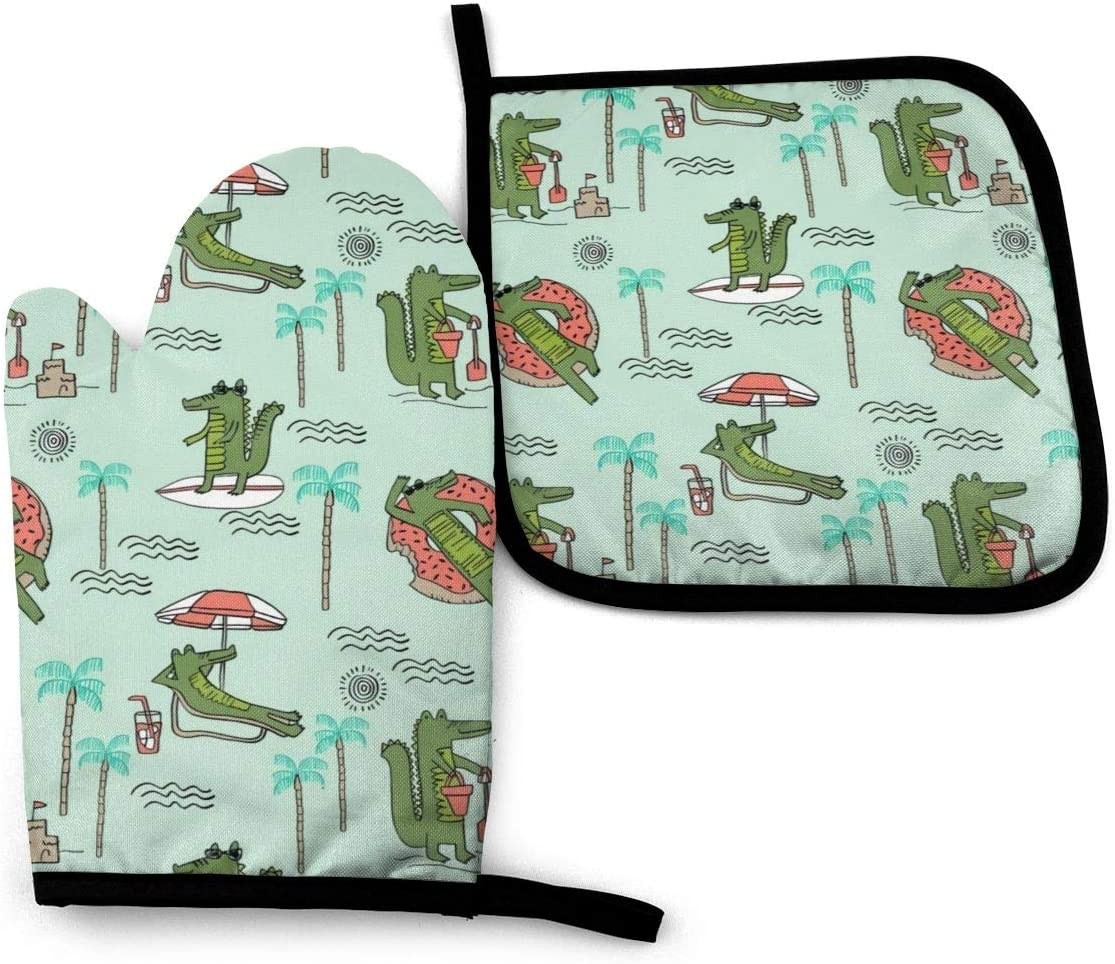 Alligator Vacation Tropical Oven Mitts & Pot Holders, with Soft Anti-Scald Cotton and Non-Slip Waterproof Heat Resistant Kitchen Mitts Surface Safe for Baking, Cooking, BBQ, Grilling