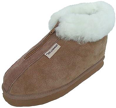 warme Damen Lammfell Hausschuhe Camel, Fell Boots mit Reißverschluss, Rutschfeste Sohle, Gr. 37