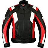 Mens Texpeed Red & White Armoured Leather Motorcycle / Motorbike Jacket - M - 5XL