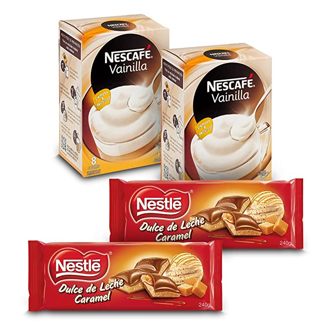 Nescafé Café Vainilla (Pack de 2 x 8 sobres) + Nestlé Chocolate Dulce de