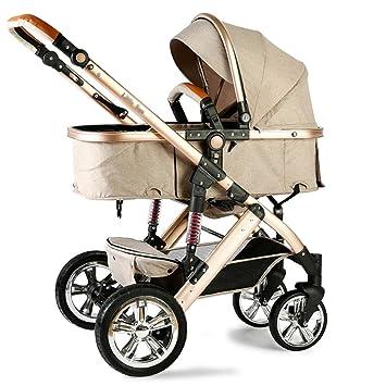 Cochecito infantil de bebé para recién nacidos y niños pequeños Puede sentarse y tumbarse con pliegues de luz de verano Paisaje alto Suspensión Carro de ...