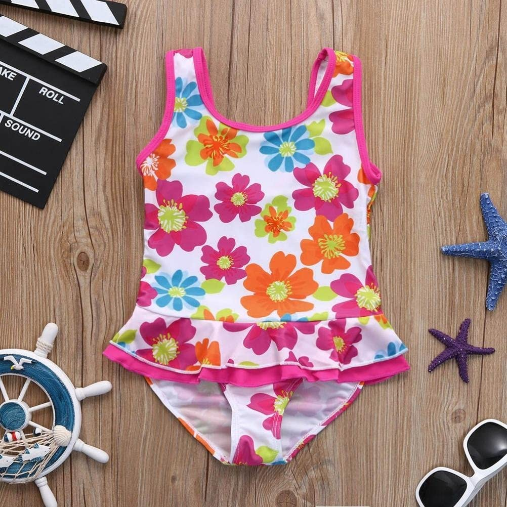 Fartido Baby Girl Floral Flower Print Swimsuit Skirt Swimg Romper Bikini Clothes