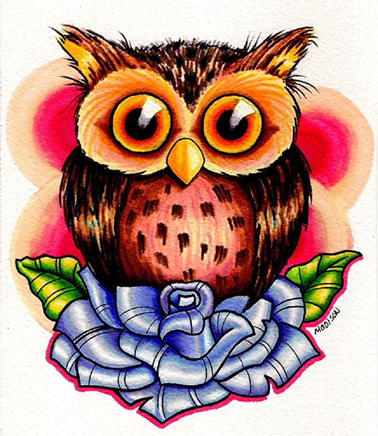 Tiny Owl by Michael Madison Cute Wise Bird on Blue Rose