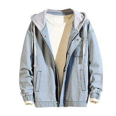 Zolimx Jeansjacke mit Fell Herren Herbst Winter Casual Vintage Gewaschene Denim-Loch Jacke Mit Kapuze Mantel Top Bluse
