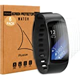 [6-Pack] Samsung Gear Fit 2 Protector de Pantalla, Rusee [Completa Cobertura] HD Clear PET Invisible Anti-Arañazos Anti-Burbuja Protección de la Instalación de la Cubierta de la Película para Samsung Gear Fit 2