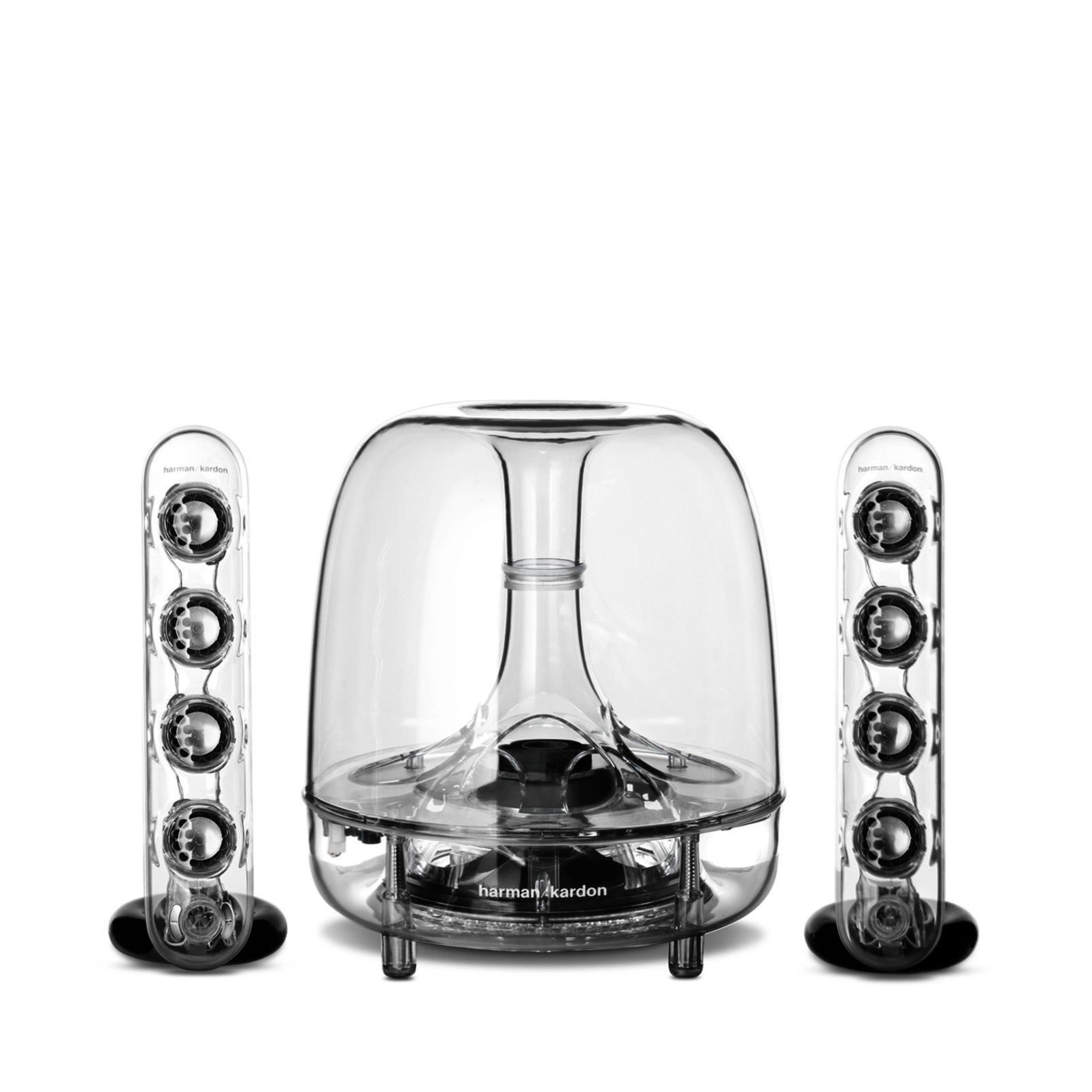 Harman/Kardon Soundsticks III Sistema Altoparlante Suono Desktop a LED con Altoparlanti, Satellite Doppi e Subwoofer, per Dispositivi con Compatibilità Aux da 3,5 mm, Trasparente product image