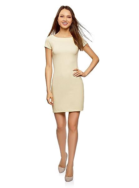 oodji Ultra Mujer Vestido de Tejido Texturizado con Escote Barco, Amarillo, ES 34 /