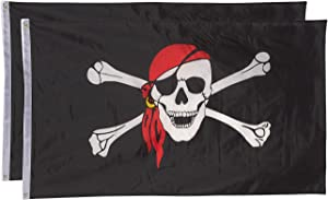 Juvale 2 Pack 3x5 Foot Pirate Flag, Jolly Roger Flag Banner Skull and Crossbones with Red Bandana, Polyester with Grommets for Pirate Parties