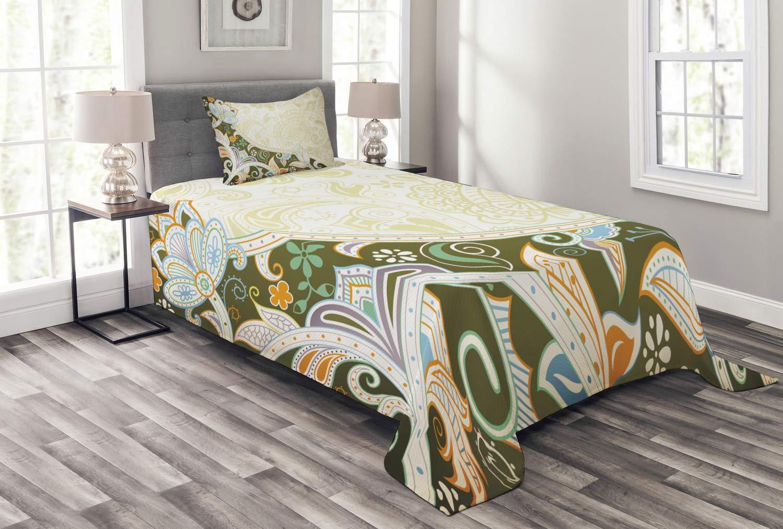 Ambesonne オリーブグリーン ベッドスプレッド 抽象的な花柄 葉とストライプ アジア風 曲線美 オリエンタル 装飾キルト風 カバーレット 枕カバー付き マルチカラー ツイン bed_51513_twin B07NPNPV89 マルチ1 ツイン