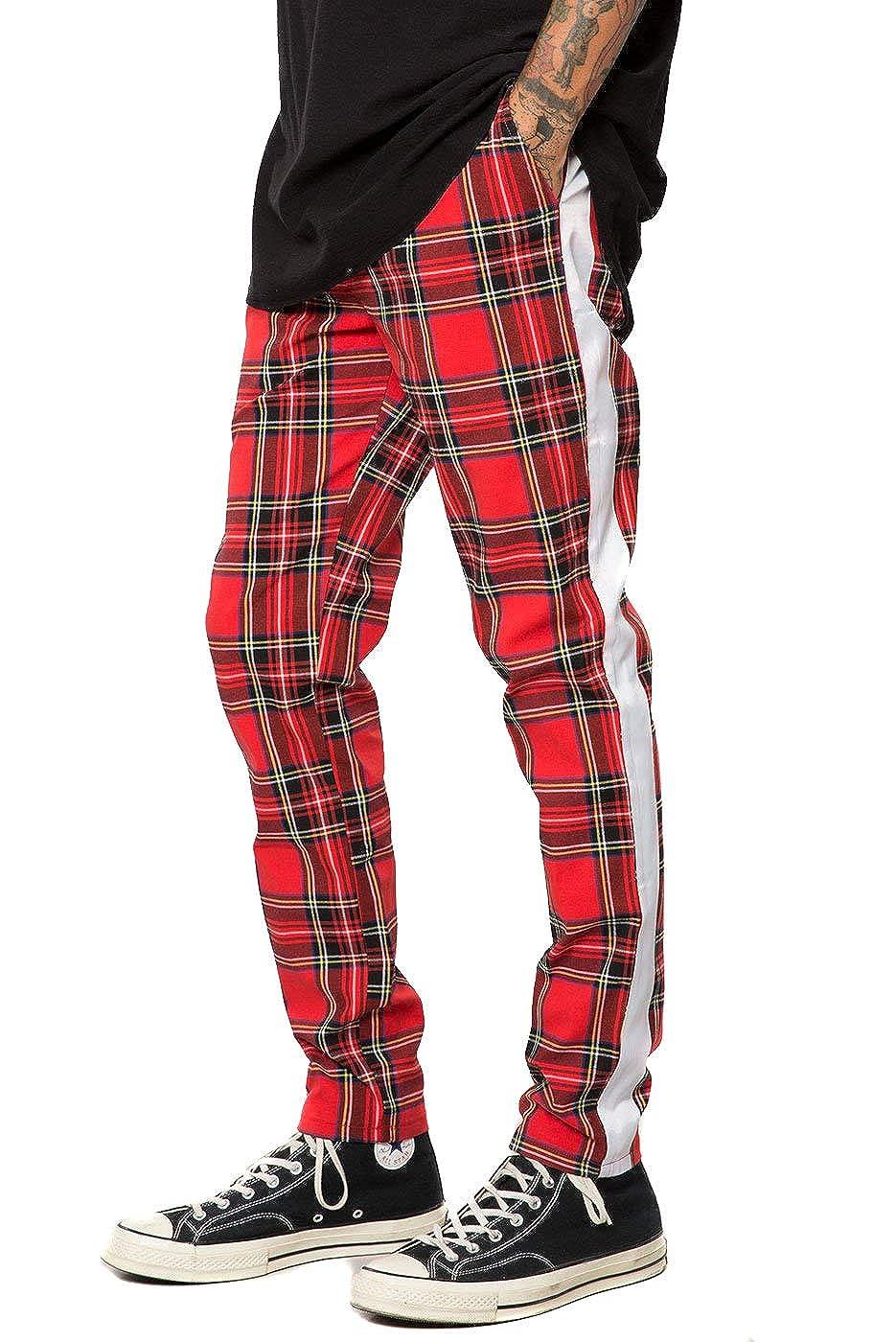 a1e3081c Amazon.com: Elwood Men's Tartan Plaid Skinny Stretch Side Stripe ...