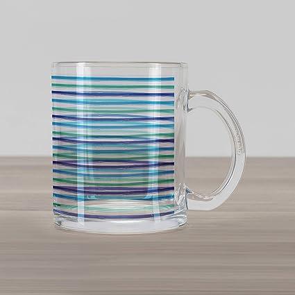 c97eabf158e Ambesonne Harbour Stripe Glass Mug, Brushstroke Lines Backdrop in Several  Tones Modern Minimalist Design,
