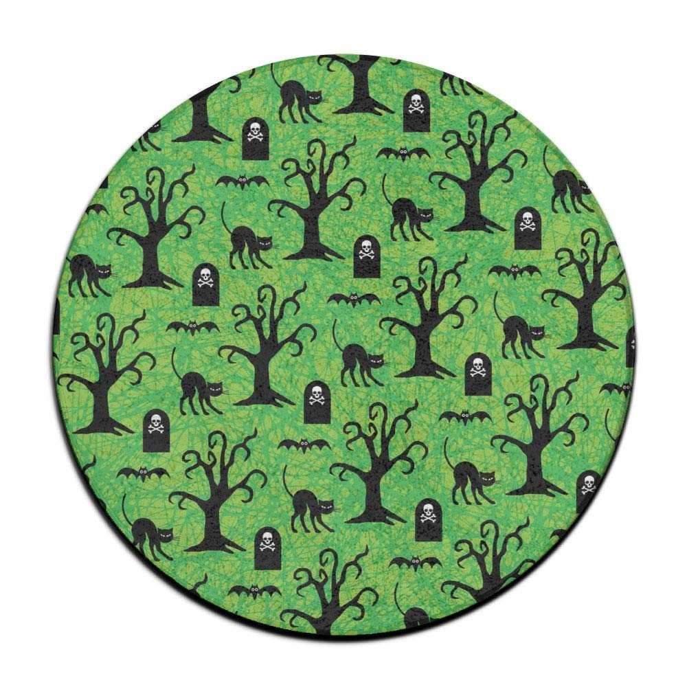 Halloween Black Cats and Spooky Trees Non-Slip Doormats Soft Memory Foam Pads (23.6 Inch) Indoor/Outdoor/Front Absorbent Circular Carpet Round Area Rug