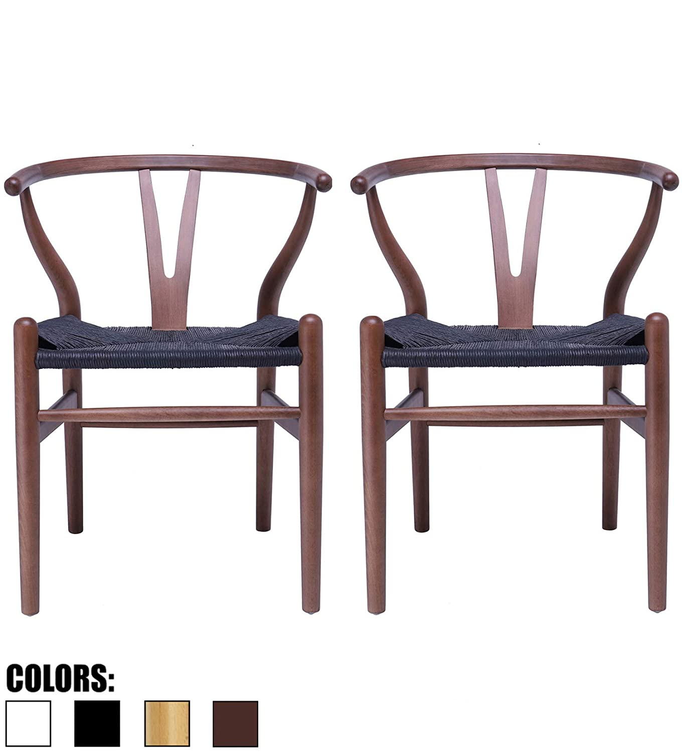 2xhome Set of 2 Wishbone Wood Armchair with Arms Open Y Back Open Mid Century Modern Contemporary Chair Dining Chairs Woven Black Seat Living Desk Espresso