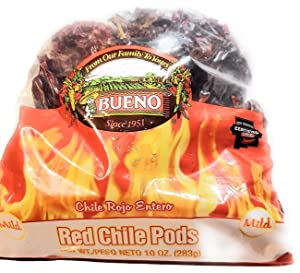 BUENO Mild Red Chile Pods - New Mexico Dried Red Chile Peppers - 10 Ounce Bag