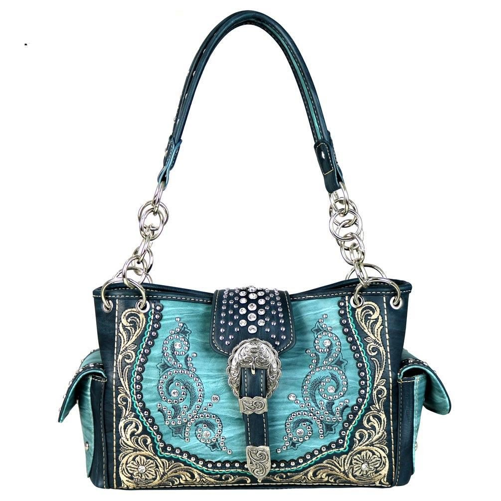 MW586-8085 Montana West Buckle Collection Satchel Handbag (Turquoise)