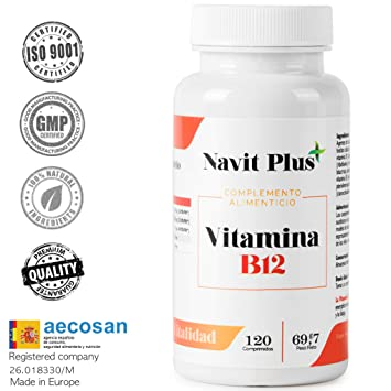 Vitamin B12 of Navit Plus, 120 Tablets  Food supplement to Base Essential  Vitamins B6 and B1, B2, B3, Vitamin Complex for optimum health care
