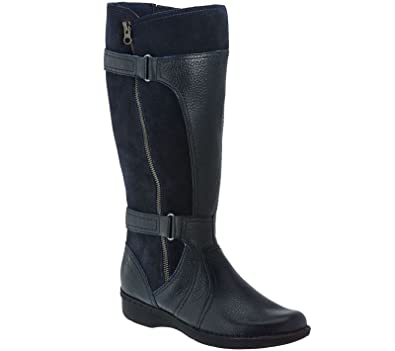 Clarks Leather Wide Shaft Boots Outside Zip Whistle Brook Navy 5.5M New  A271071