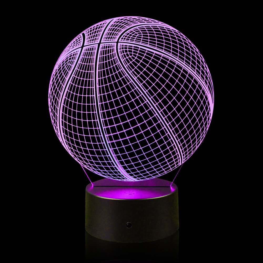 3D Illusion Basketball Night Light Lamp with 7 Color Change, Touch Base, Power by AA Batteries by AZALCO (Image #4)
