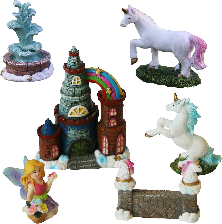 BangBangDa Unicorn Figurines Fairy Garden Accessories - Miniature Unicorn Gift Set Outdoor Garden Decoration – Fairy Figurines Castle Fountain Girl Birthday Gifts (Set of 6)