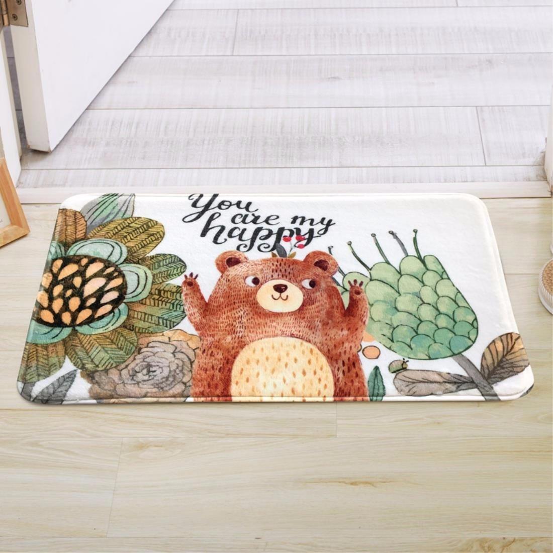 LIUXINDA-DT Carpet, child, animal, floor mat, door mat, door, door, kitchen, long kitchen, slip proof and absorbent pad,40 60CM (15.7 x 23.6inch),White/A