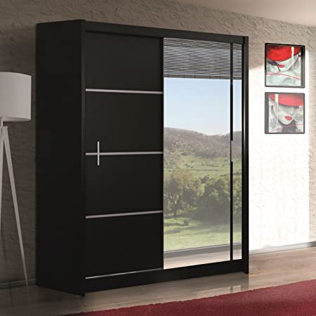 TrendyHome24 WIST - Armario con Puertas correderas (con Espejo, 150 x 180 x 203 x 250 cm), Color Negro: Amazon.es: Hogar
