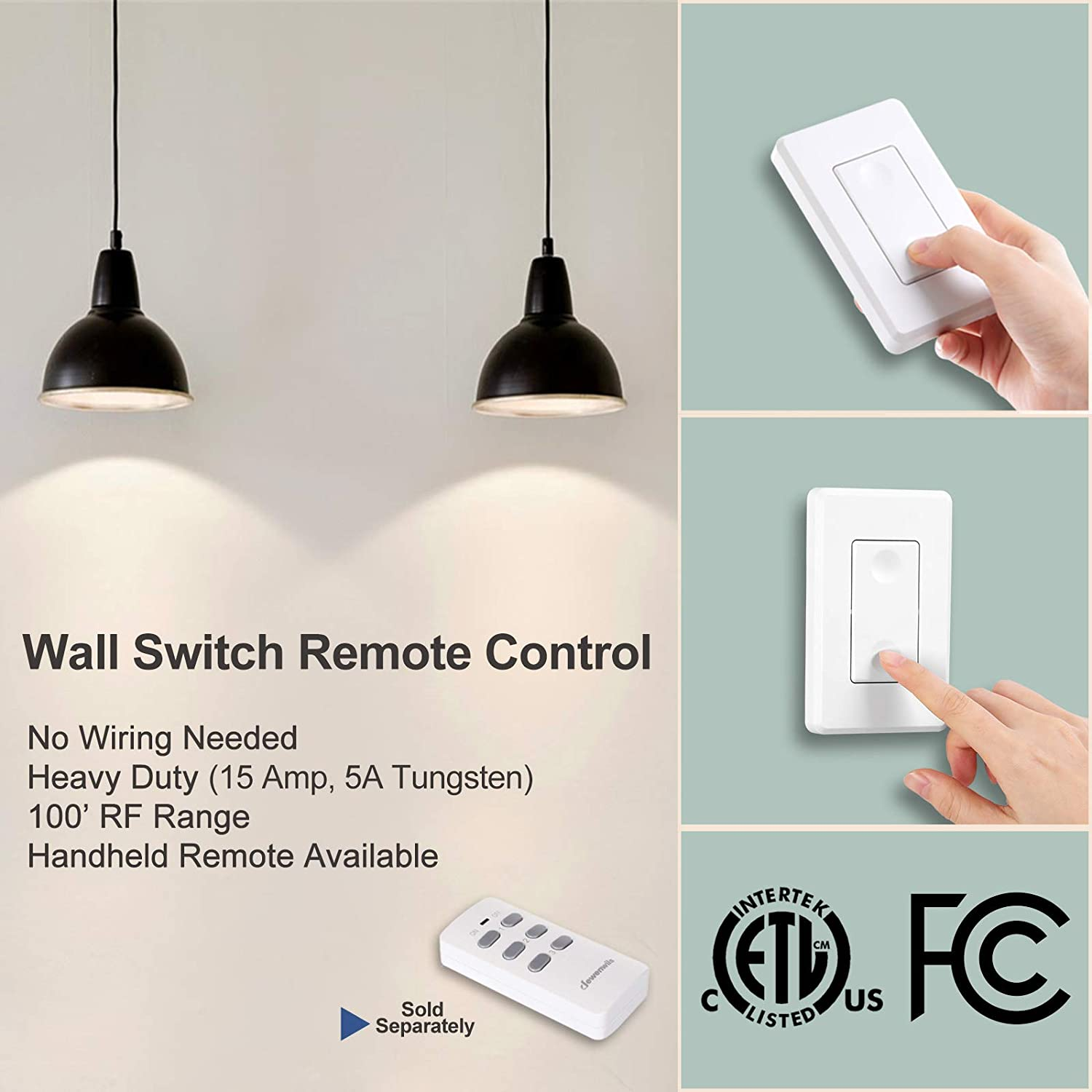 Dewenwils Remote Control Light Lamp Socket E26 E27 Bulb Base Holder Wiring Wireless Switch Kit